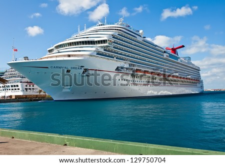 NASSAU, BAHAMAS - JAN. 13:  Carnival Dream docked in the port of the Bahamas on Jan. 13, 2013. At 130,000 tons, the ship is the largest to date for Carnival Cruise Lines.