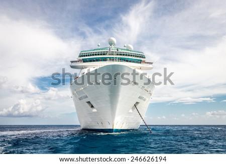 NASSAU, BAHAMAS - SEPTEMBER, 06, 2014: Royal Caribbean\'s ship, Majesty of the Seas, sails in the Port of the Bahamas on September 06, 2014
