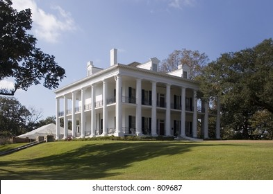 Stock photo of Natchez plantation home located on Mississippi River. An antebellum home