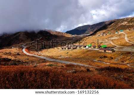 Nathang valley under clouds, interesting play of light and shadow, Sikkim, India