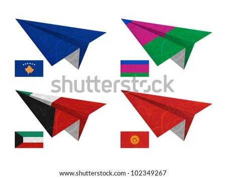 Nation Flag. Airplane recycled paper on white background. ( Kosovo, Kuban Peoples Republic , Kuwait , Kyrgyztan )