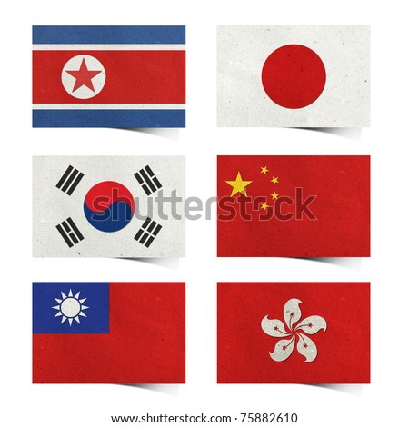 Nation Flag ( asia 01) . tag recycled paper craft  stick on white background . North Korea Rp., South Korea , Japan , China , Taiwan , Hong kong )
