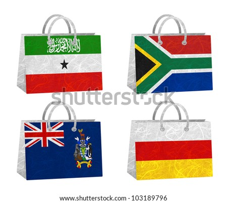 Nation Flag. Bag recycled paper on white background. ( Somaliland , South Africa , South Georgia and the South Sandwich Islands , South Ossetia )