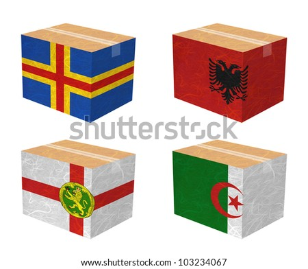 Nation Flag. Box recycled paper on white background. ( Aland , Albania , Alderney , Algeria )