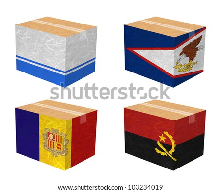 Nation Flag. Box recycled paper on white background. ( Altai Republic , American Samoa , Andorra , Angola )