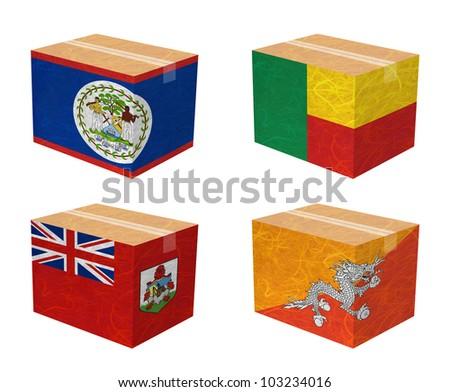 Nation Flag. Box recycled paper on white background. ( Belize , Benin , Bermuda , Bhutan )