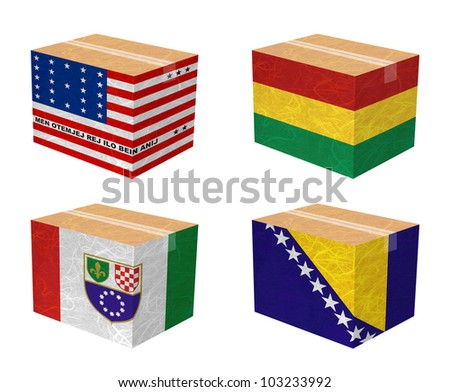 Nation Flag. Box recycled paper on white background. ( Bikini Atoll , Bolivia , Bosnia and Herzegovina Federation of, Bosnia and Herzegovina )