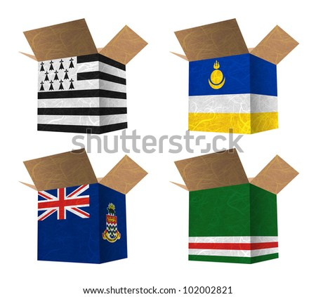 Nation Flag. Box recycled paper on white background. ( Brittany , Buryatia , Cayman Islands , Chechen Republic of Ichkeria )
