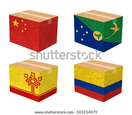 Nation Flag. Box recycled paper on white background. ( China , Christmas Island , Chuvashia , Colombia )