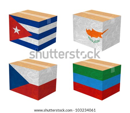 Nation Flag. Box recycled paper on white background. ( Cuba , Cyprus , Czech Republic , Dagestan )