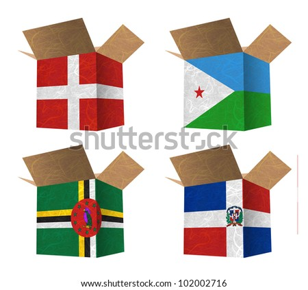 Nation Flag. Box recycled paper on white background. ( Denmark , Djibouti , Dominica , Dominican Republic )