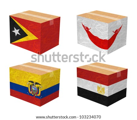 Nation Flag. Box recycled paper on white background. ( East Timor , Easter Island Rapa nui , Ecuador , Egypt )