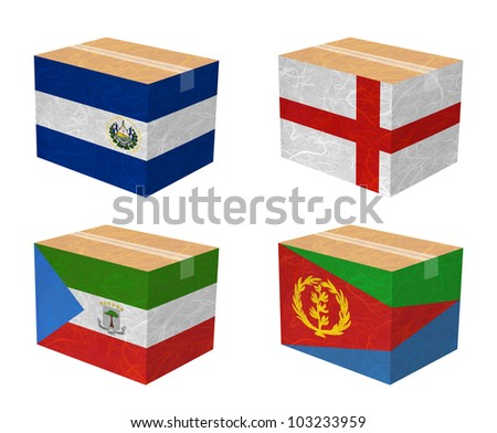 Nation Flag. Box recycled paper on white background. ( El Salvador , England , Equatorial Guinea , Eritrea )