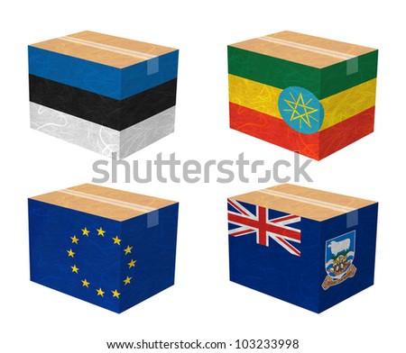 Nation Flag. Box recycled paper on white background. ( Estonia , Ethiopia , European Union , Falkland Islands )