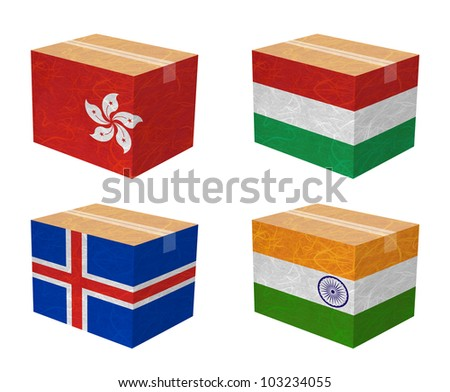 Nation Flag. Box recycled paper on white background. ( Hong Kong , Hungary , Iceland , India )