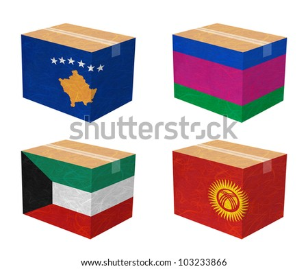 Nation Flag. Box recycled paper on white background. ( Kosovo, Kuban Peoples Republic , Kuwait , Kyrgyztan )