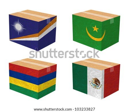 Nation Flag. Box recycled paper on white background. ( Marshall Islands , Mauritania , Mauritius , Mexico )