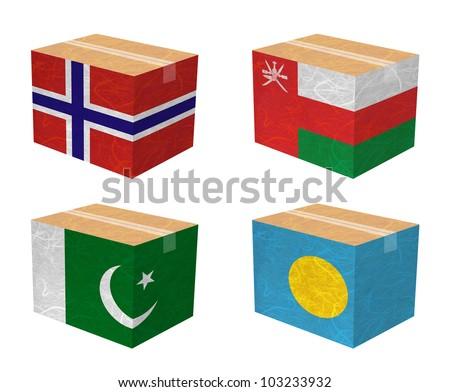 Nation Flag. Box recycled paper on white background. ( Norway , Oman , Pakistan , Palau ) - stock photo