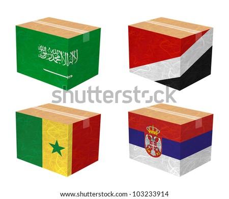 Nation Flag. Box recycled paper on white background. ( Saudi Arabia , Sealand Principality , Senegal , Serbia )