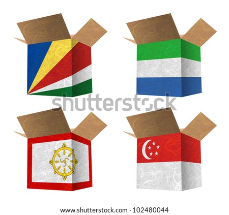 Nation Flag. Box recycled paper on white background. ( Seychelles , Sierra Leone , Sikkim , Singapore )