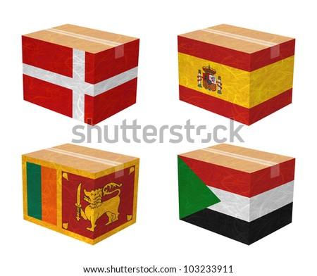 Nation Flag. Box recycled paper on white background. ( Sovereign Military Order of Malta , Spain , Sri Lanka , Sudan )