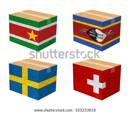 Nation Flag. Box recycled paper on white background. ( Suriname , Swaziland , Sweden , Switzerland )