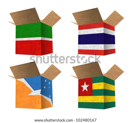 Nation Flag. Box recycled paper on white background. ( Tatarstan , Thailand , Tierra del Fuego Province - Argentina , Togo )