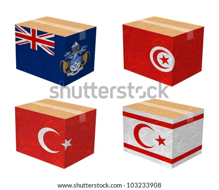 Nation Flag. Box recycled paper on white background. ( Tristan da Cunha , Tunisia , Turkey , Turkish Republic of Northern Cyprus )