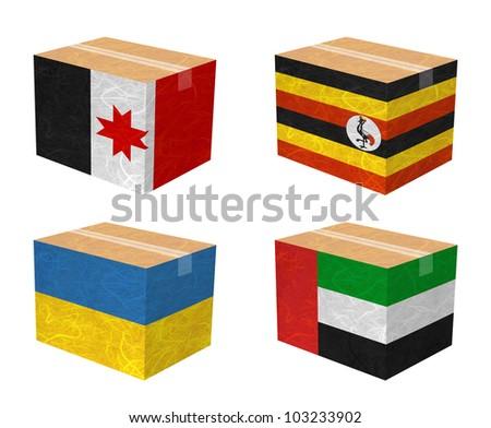 Nation Flag. Box recycled paper on white background. ( Udmurtia , Uganda , Ukraine , United Arab Emirates )