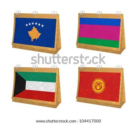 Nation Flag. Calendar recycled paper on white background. ( Kosovo, Kuban Peoples Republic , Kuwait , Kyrgyztan )
