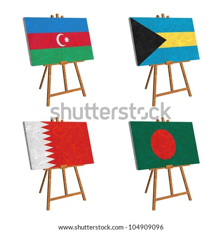 Nation Flag. Easel recycled paper on white background. ( Azerbaijan , Bahamas , Bahrain , Bangladesh )