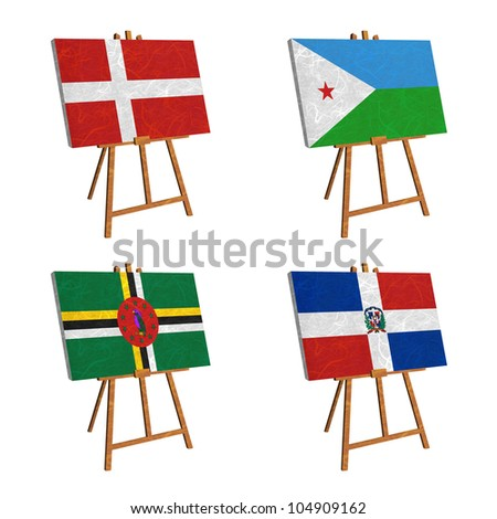 Nation Flag. Easel recycled paper on white background. ( Denmark , Djibouti , Dominica , Dominican Republic )