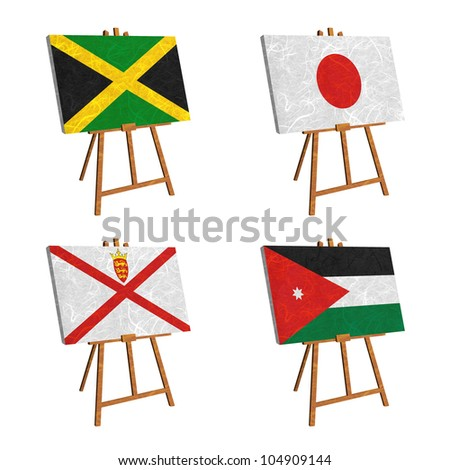 Nation Flag. Easel recycled paper on white background. ( Jamaica , Japan , Jersey , Jordan )