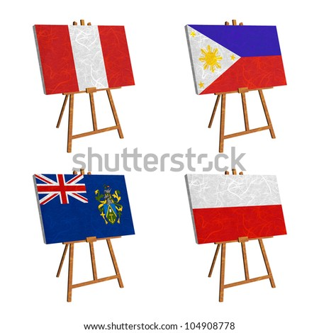 Nation Flag. Easel recycled paper on white background. ( Peru , Philippines , Pitcairn Islands , Poland )