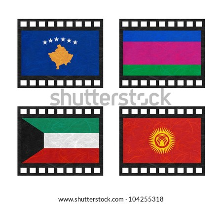 Nation Flag. Film strip recycled paper on white background. ( Kosovo, Kuban Peoples Republic , Kuwait , Kyrgyztan )