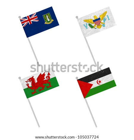 Nation Flag. Flag pole recycled paper on white background. ( Virgin Islands - UK , Virgin Islands - US , Wales , Western Sahara ) #105037724