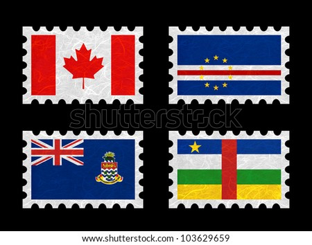 Nation Flag. Stamp recycled paper on white background. ( Canada , Cape Verde , Cayman Islands , Central African Republic )
