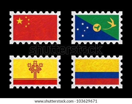 Nation Flag. Stamp recycled paper on white background. ( China , Christmas Island , Chuvashia , Colombia )