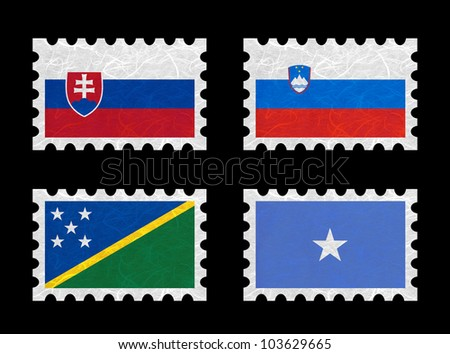 Nation Flag. Stamp recycled paper on white background. ( Slovakia , Slovenia , Solomon Islands , Somalia ) - stock photo