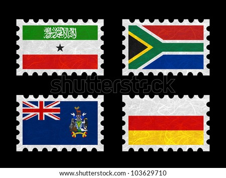 Nation Flag. Stamp recycled paper on white background. ( Somaliland , South Africa , South Georgia and the South Sandwich Islands , South Ossetia )