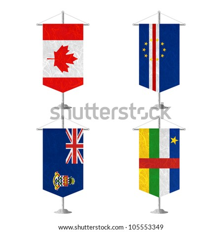Nation Flag. Table flag recycled paper on white background. ( Canada , Cape Verde , Cayman Islands , Central African Republic )