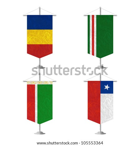 Nation Flag. Table flag recycled paper on white background. ( Chad , Chechen Republic of Ichkeria , Chechen Republic , Chile )