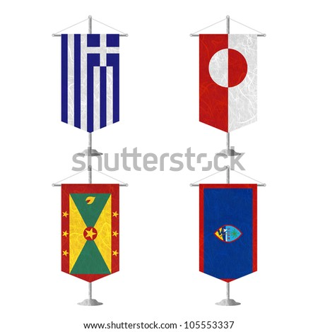 Nation Flag. Table flag recycled paper on white background. ( Greece , Greenland , Grenada , Guam )
