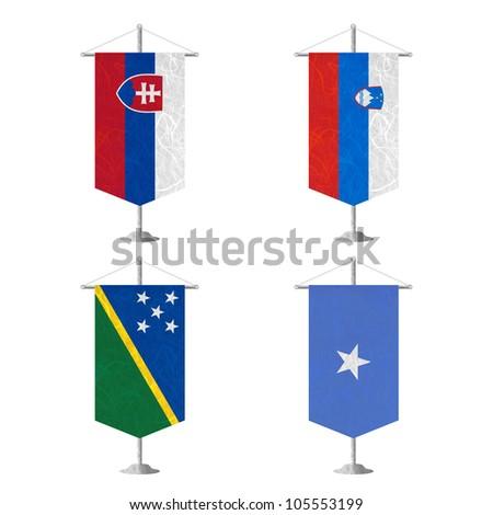 Nation Flag. Table flag recycled paper on white background. ( Slovakia , Slovenia , Solomon Islands , Somalia )