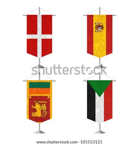 Nation Flag. Table flag recycled paper on white background. ( Sovereign Military Order of Malta , Spain , Sri Lanka , Sudan )