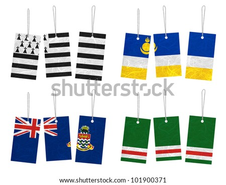 Nation Flag. Tag recycled paper on white background. ( Brittany , Buryatia , Cayman Islands , Chechen Republic of Ichkeria )