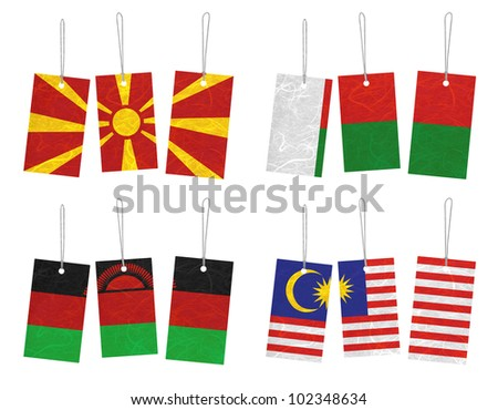 Nation Flag. Tag recycled paper on white background. ( Macedonia , Madagascar , Malawi , Malaysia )