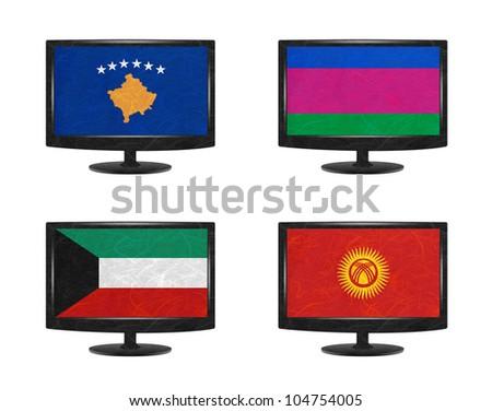 Nation Flag. Television recycled paper on white background. ( Kosovo, Kuban Peoples Republic , Kuwait , Kyrgyztan )