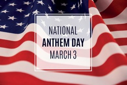 National Anthem Day stock images. Wavy american flag close-up stock images. Detail of an American flag images. American flag background stock photo. Anthem Day Poster, March 3. Important day