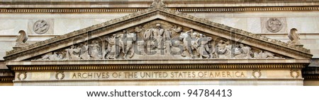 National Archives Building detail - close up view, facade in Washington DC, USA